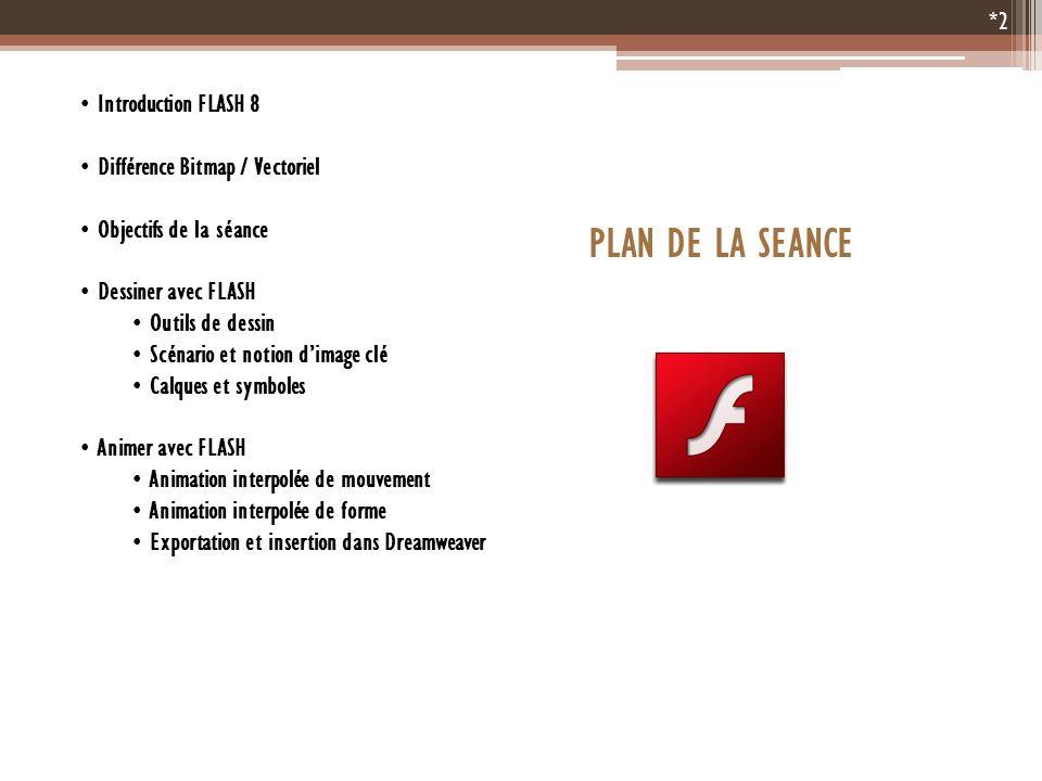 Introduction FLASH 8 Différence Bitmap / Vectoriel Objectifs de la séance Dessiner avec FLASH Outils de dessin Scénario et notion dimage clé Calques e