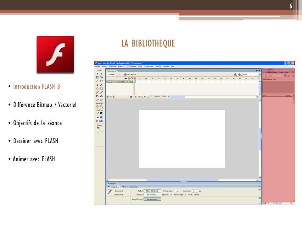 6 Introduction FLASH 8 Différence Bitmap / Vectoriel Objectifs de la séance Dessiner avec FLASH Animer avec FLASH LA BIBLIOTHEQUE