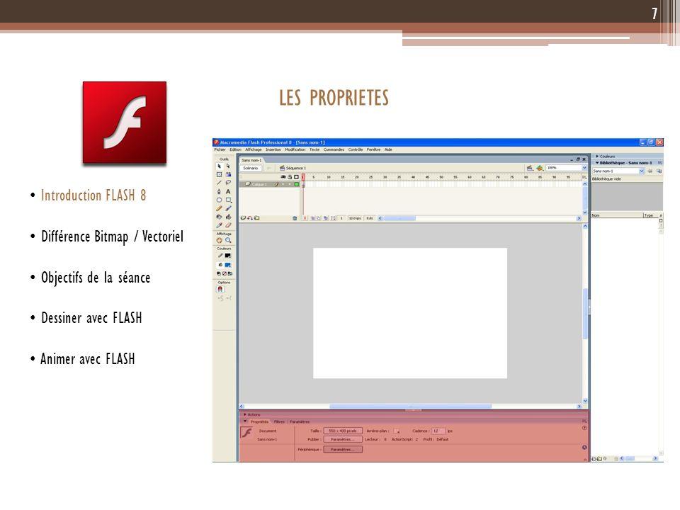 7 Introduction FLASH 8 Différence Bitmap / Vectoriel Objectifs de la séance Dessiner avec FLASH Animer avec FLASH LES PROPRIETES