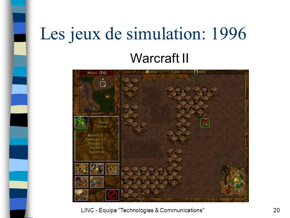 LINC - Equipe Technologies & Communications 21 Les jeux de simulation: 2000 Les Sims