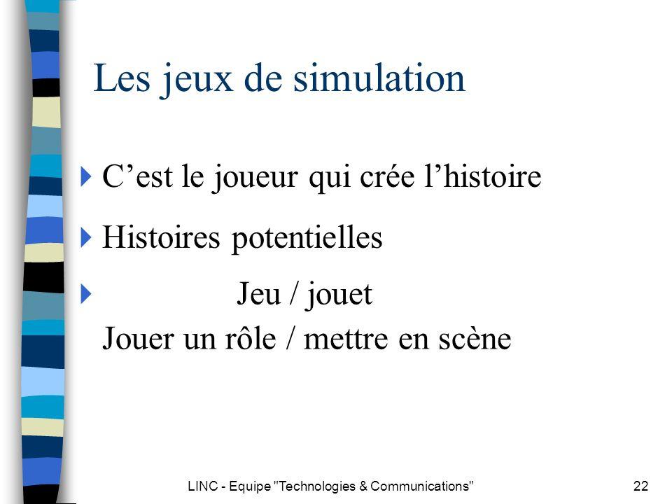 LINC - Equipe Technologies & Communications 23 Points communs Monde fictif Obstacle Jeu sur les possibles