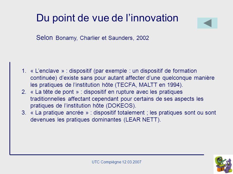 UTC Compiègne 12.03.2007 Notre définition (Charlier, Deschryver, Peraya, 2006) « Un dispositif de formation hybride se caractérise par la présence dan