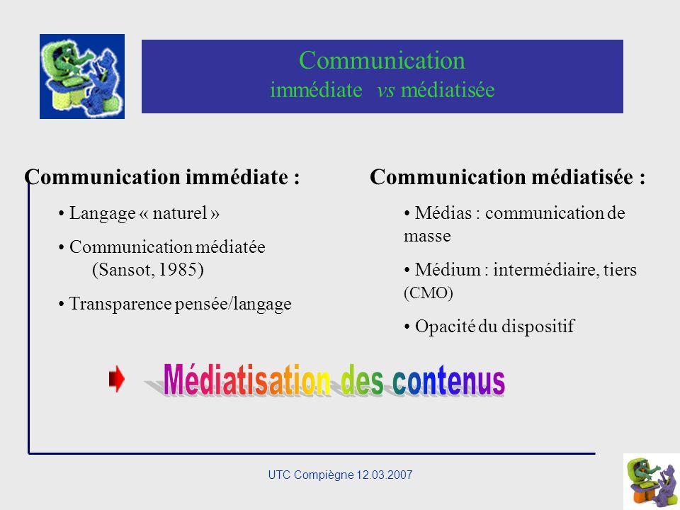 UTC Compiègne 12.03.2007 Rapport médiatisation/médiations Médiatiser un « objet » en fonction de la connaissance que lon des processus de médiation Médiations Médiatisation