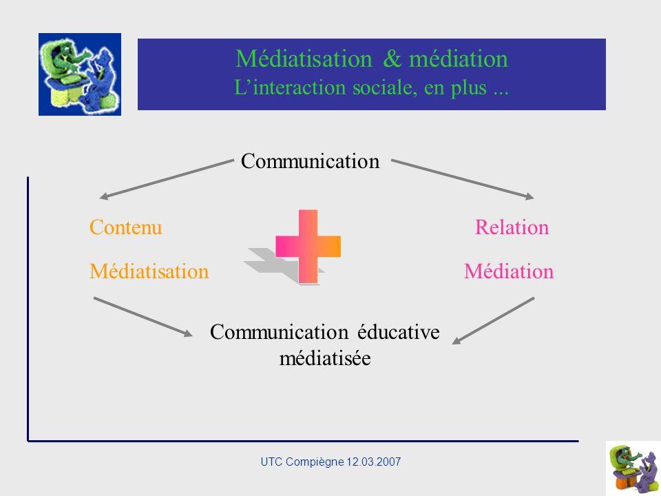 UTC Compiègne 12.03.2007 Communication immédiate vs médiatisée Communication médiatisée : Médias : communication de masse Médium : intermédiaire, tier