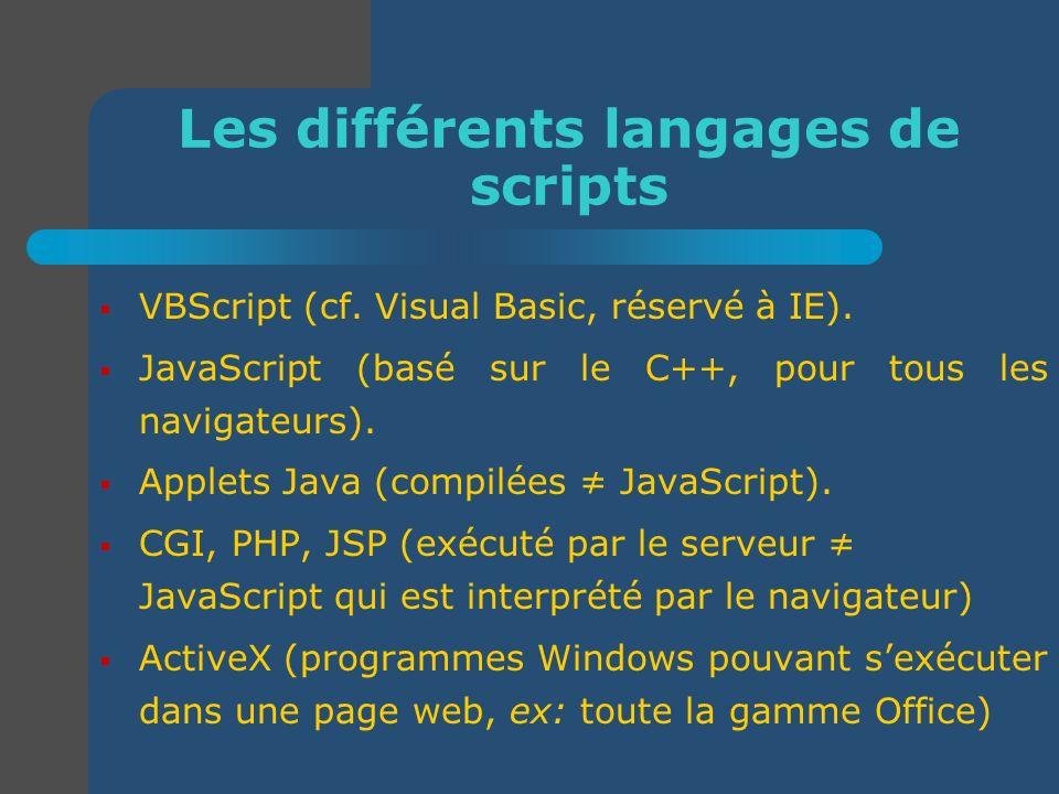 Les différents langages de scripts VBScript (cf. Visual Basic, réservé à IE). JavaScript (basé sur le C++, pour tous les navigateurs). Applets Java (c