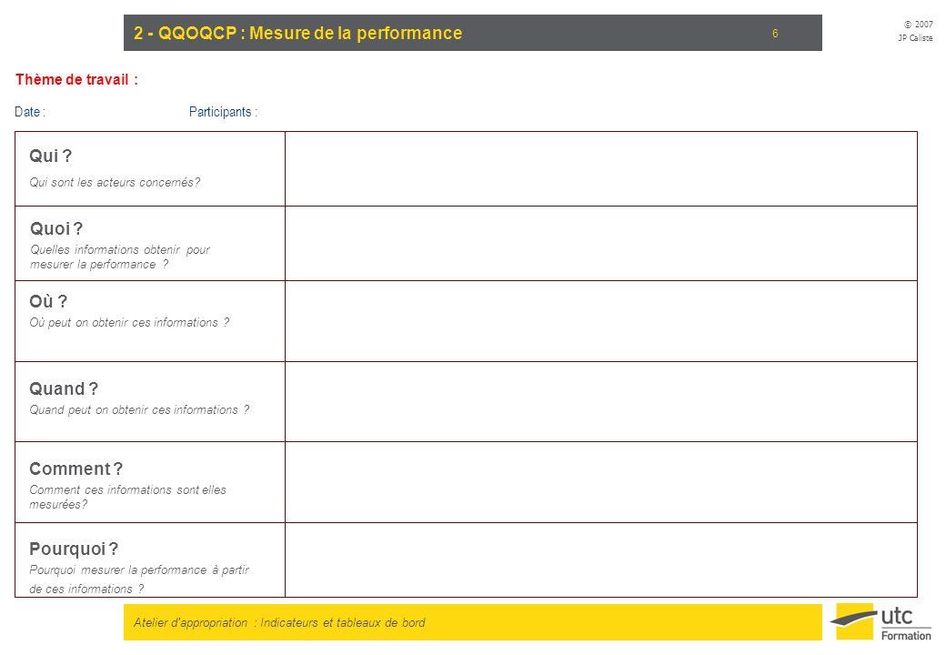 Atelier d appropriation : Indicateurs et tableaux de bord © 2007 JP Caliste 7 3 - QQOQCP : Mesure permettant dassurer le reporting Qui .