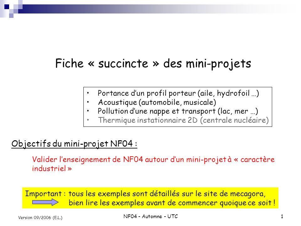 NF04 - Automne - UTC1 Version 09/2006 (E.L.) Fiche « succincte » des mini-projets Portance dun profil porteur (aile, hydrofoil …) Acoustique (automobi