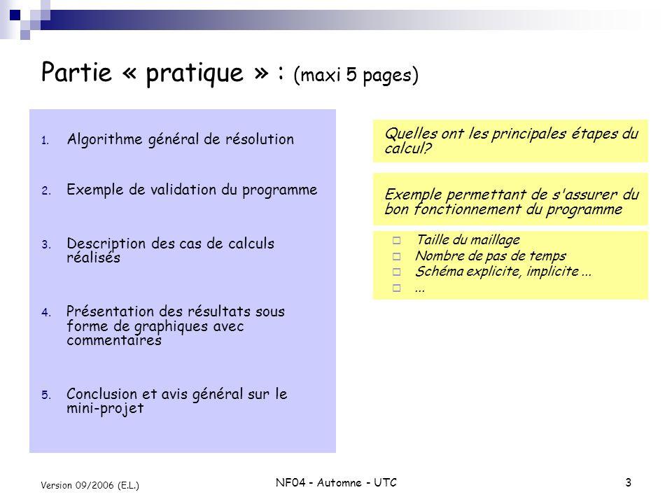 NF04 - Automne - UTC3 Version 09/2006 (E.L.) 1. Algorithme général de résolution 2. Exemple de validation du programme 3. Description des cas de calcu