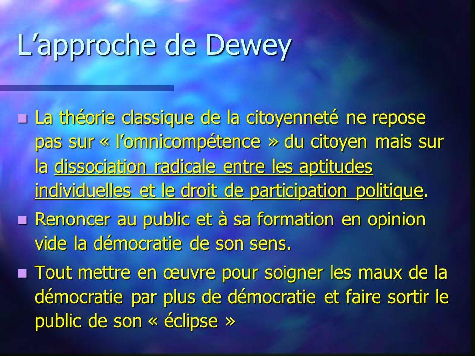 Lapproche de Dewey La théorie classique de la citoyenneté ne repose pas sur « lomnicompétence » du citoyen mais sur la dissociation radicale entre les