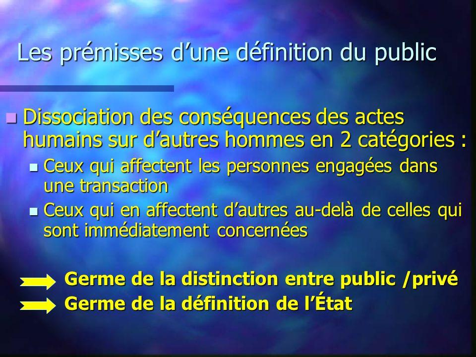 Les prémisses dune définition du public Dissociation des conséquences des actes humains sur dautres hommes en 2 catégories : Dissociation des conséque