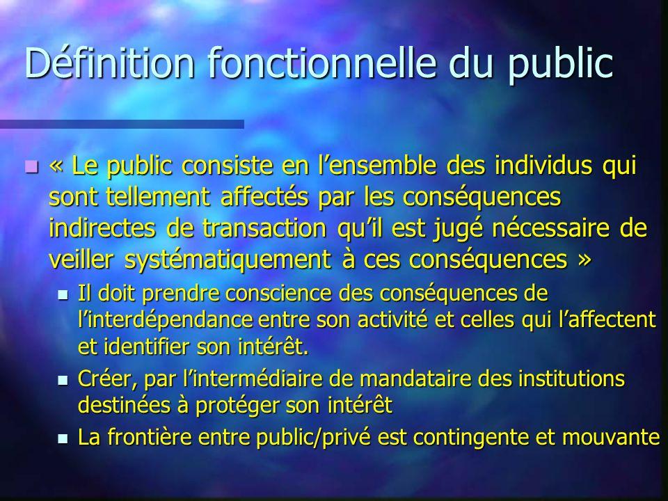 Définition fonctionnelle du public « Le public consiste en lensemble des individus qui sont tellement affectés par les conséquences indirectes de tran