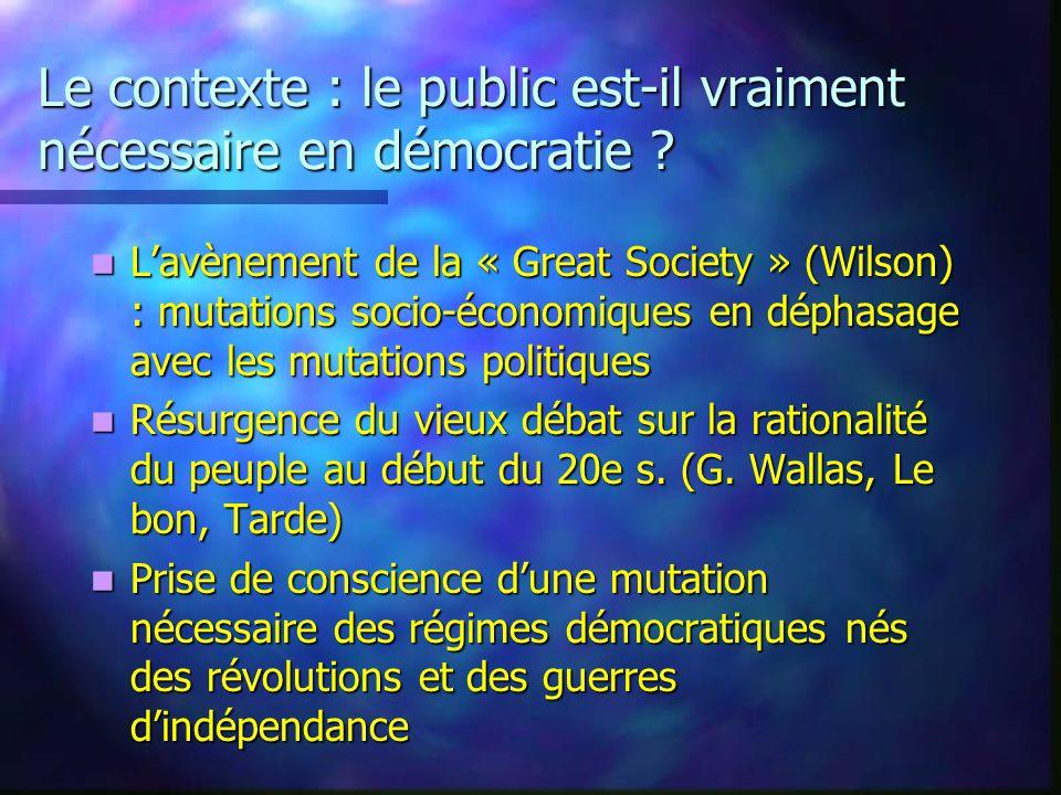 Le contexte : le public est-il vraiment nécessaire en démocratie ? Lavènement de la « Great Society » (Wilson) : mutations socio-économiques en déphas