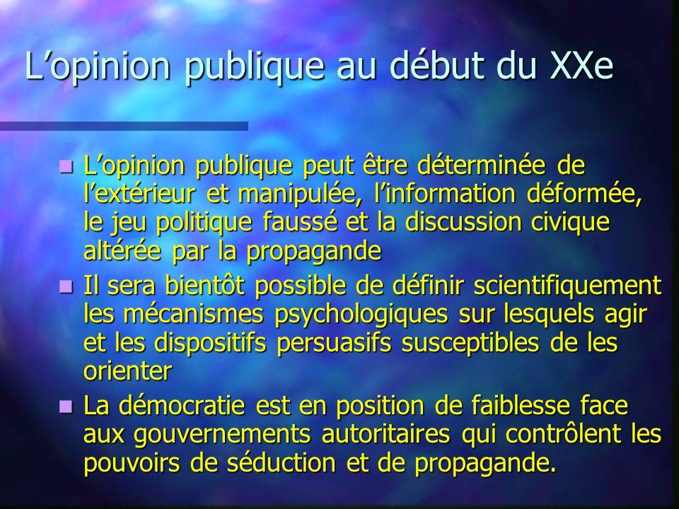 Lopinion publique au début du XXe Lopinion publique peut être déterminée de lextérieur et manipulée, linformation déformée, le jeu politique faussé et