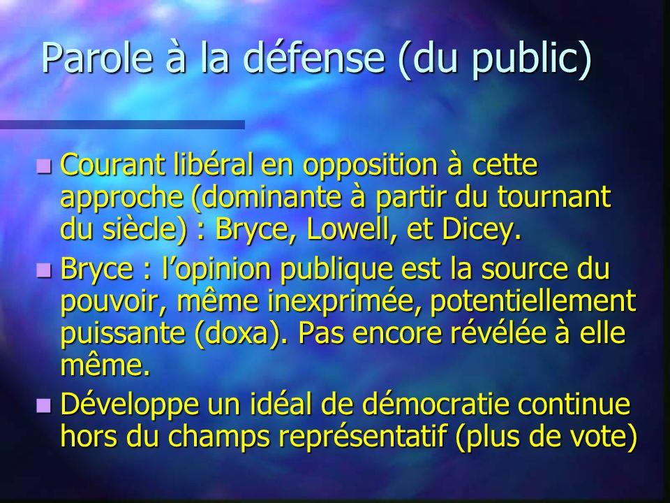 Parole à la défense (du public) Courant libéral en opposition à cette approche (dominante à partir du tournant du siècle) : Bryce, Lowell, et Dicey. C