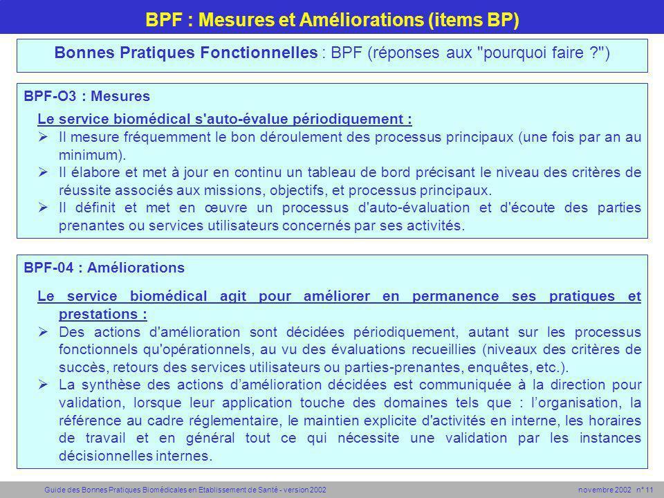 Guide des Bonnes Pratiques Biomédicales en Etablissement de Santé - version 2002 novembre 2002 n° 11 BPF : Mesures et Améliorations (items BP) BPF-O3
