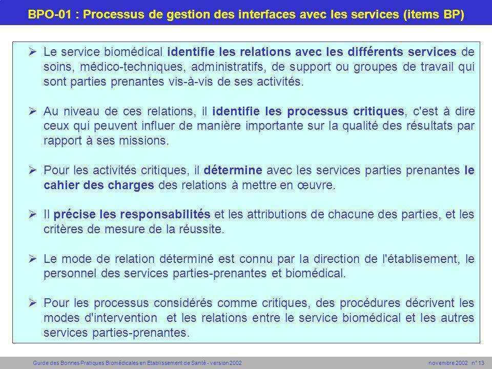 Guide des Bonnes Pratiques Biomédicales en Etablissement de Santé - version 2002 novembre 2002 n° 13 BPO-01 : Processus de gestion des interfaces avec