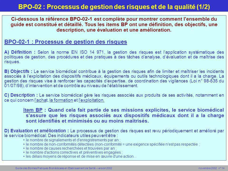 Guide des Bonnes Pratiques Biomédicales en Etablissement de Santé - version 2002 novembre 2002 n° 14 BPO-02 : Processus de gestion des risques et de l