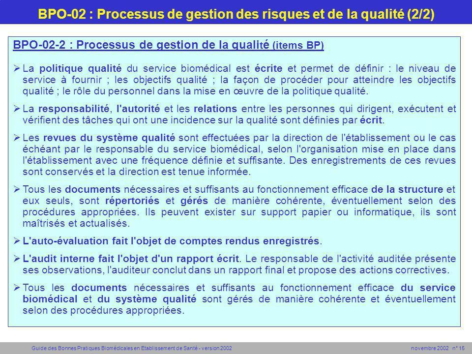 Guide des Bonnes Pratiques Biomédicales en Etablissement de Santé - version 2002 novembre 2002 n° 15 BPO-02-2 : Processus de gestion de la quali t é (