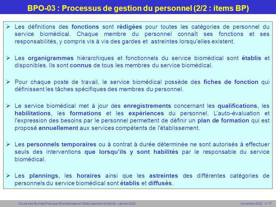 Guide des Bonnes Pratiques Biomédicales en Etablissement de Santé - version 2002 novembre 2002 n° 17 BPO-03 : Processus de gestion du personnel (2/2 :