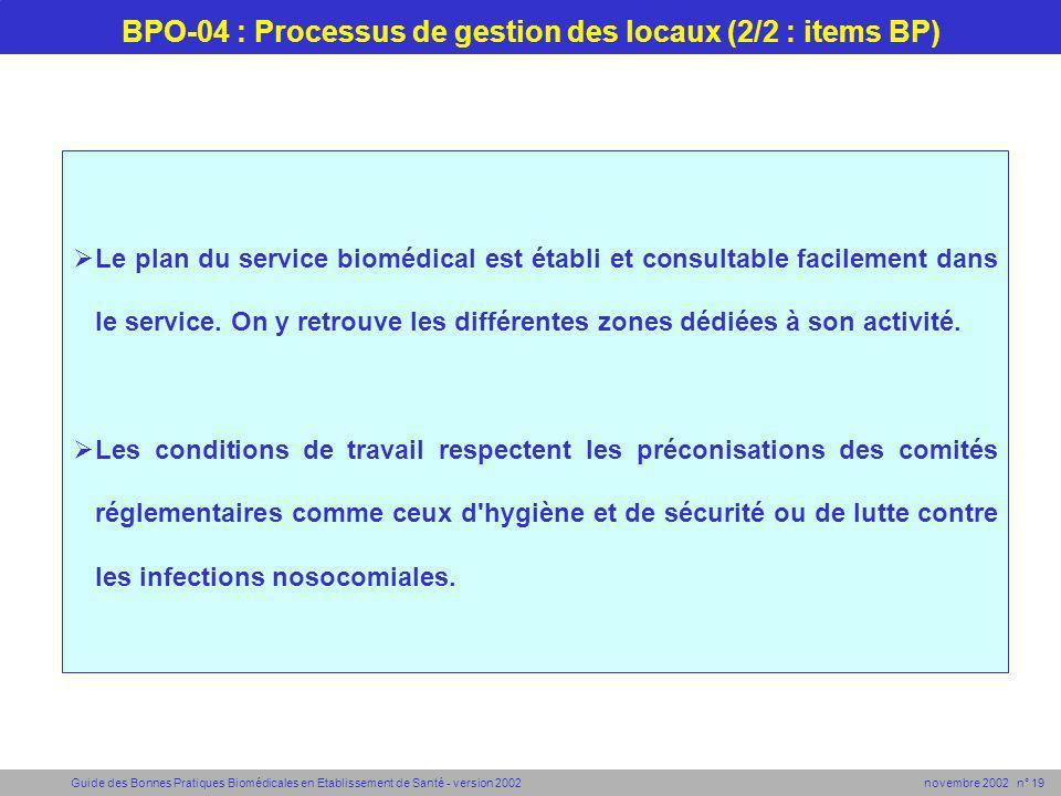 Guide des Bonnes Pratiques Biomédicales en Etablissement de Santé - version 2002 novembre 2002 n° 19 BPO-04 : Processus de gestion des locaux (2/2 : i