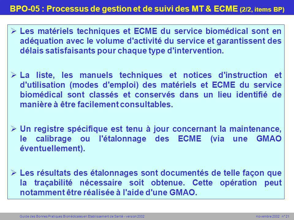 Guide des Bonnes Pratiques Biomédicales en Etablissement de Santé - version 2002 novembre 2002 n° 21 BPO-05 : Processus de gestion et de suivi des MT