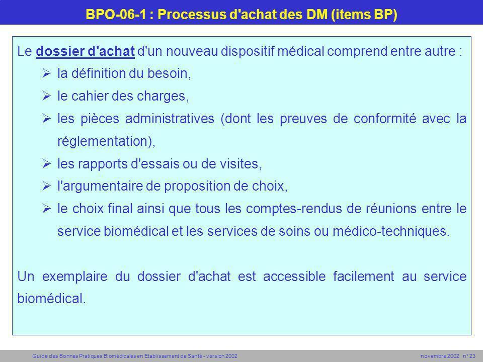 Guide des Bonnes Pratiques Biomédicales en Etablissement de Santé - version 2002 novembre 2002 n° 23 BPO-06-1 : Processus d'achat des DM (items BP) Le