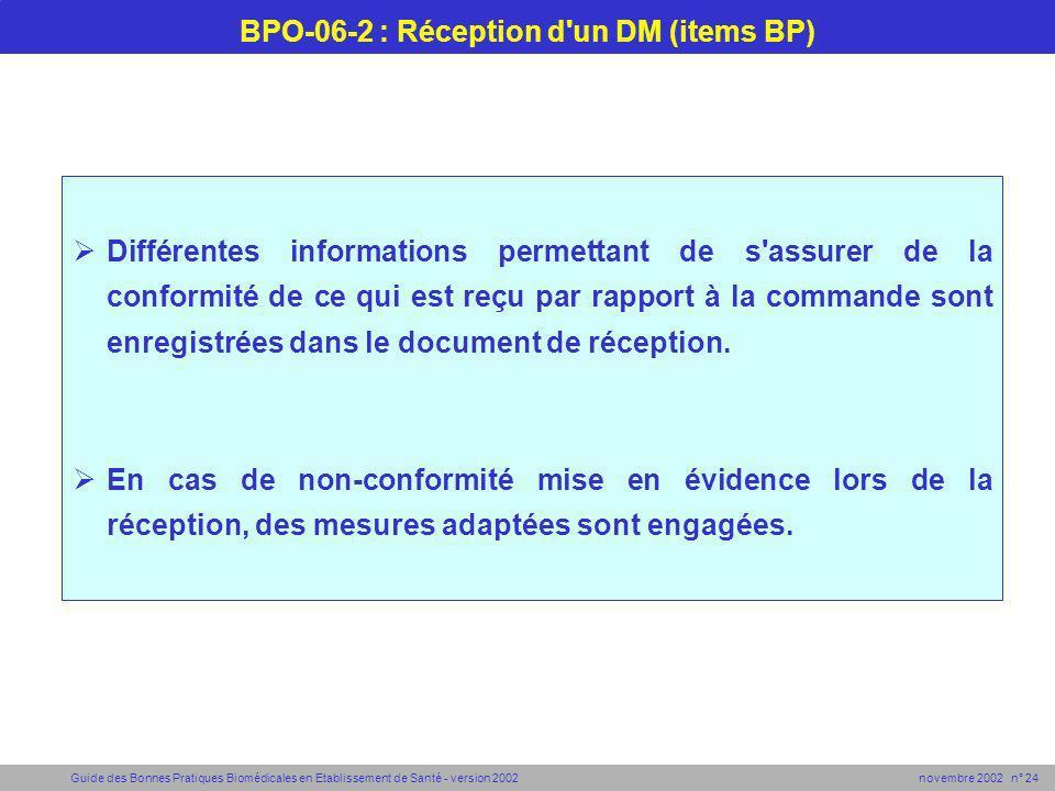 Guide des Bonnes Pratiques Biomédicales en Etablissement de Santé - version 2002 novembre 2002 n° 24 BPO-06-2 : Réception d'un DM (items BP) Différent