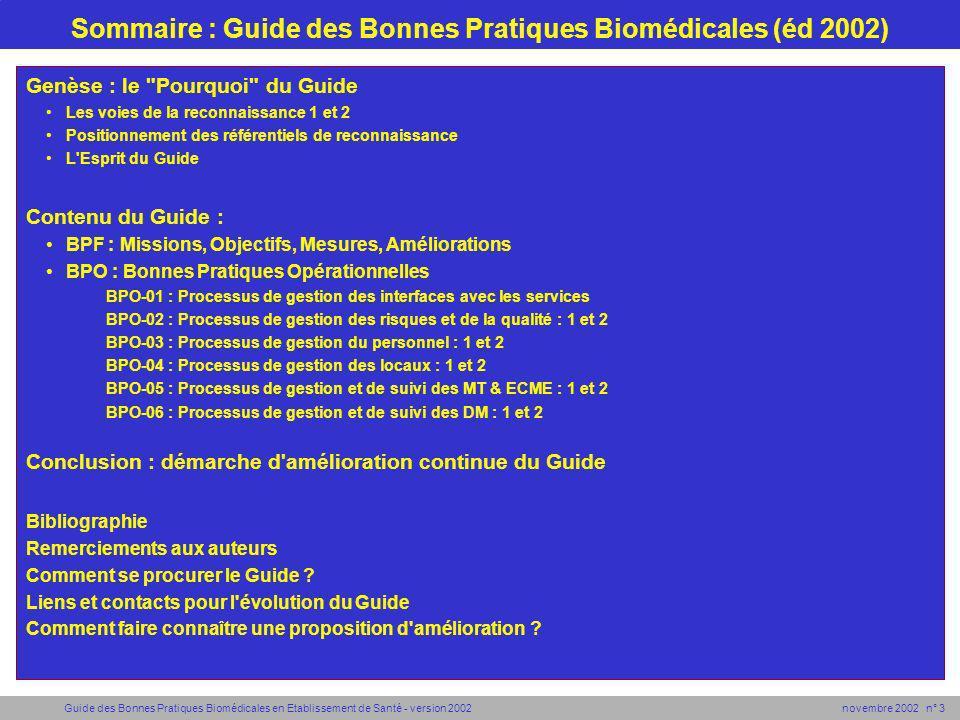Guide des Bonnes Pratiques Biomédicales en Etablissement de Santé - version 2002 novembre 2002 n° 14 BPO-02 : Processus de gestion des risques et de la qualité (1/2) Ci-dessous la référence BPO-02-1 est complète pour montrer comment l ensemble du guide est constitué et détaillé.