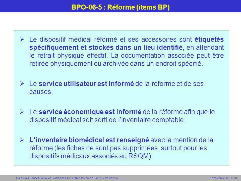 Guide des Bonnes Pratiques Biomédicales en Etablissement de Santé - version 2002 novembre 2002 n° 31 BPO-06-5 : Réforme (items BP) Le dispositif médic