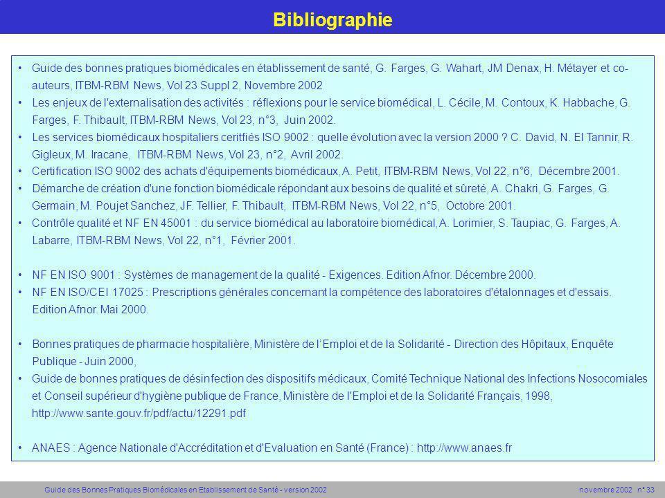 Guide des Bonnes Pratiques Biomédicales en Etablissement de Santé - version 2002 novembre 2002 n° 33 Bibliographie Guide des bonnes pratiques biomédic