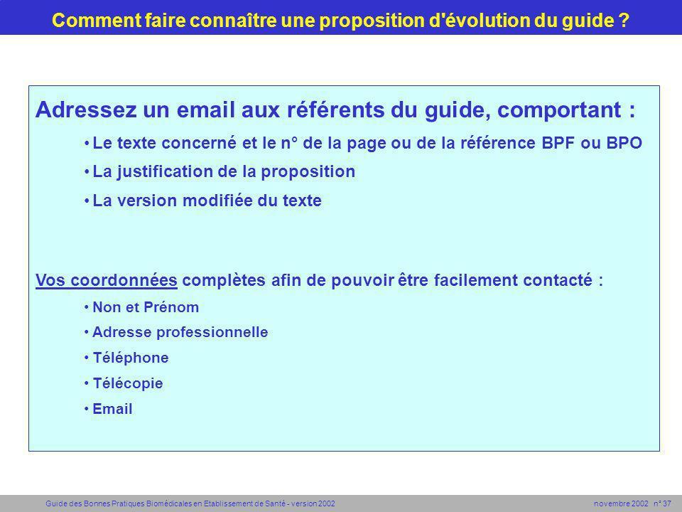 Guide des Bonnes Pratiques Biomédicales en Etablissement de Santé - version 2002 novembre 2002 n° 37 Comment faire connaître une proposition d'évoluti