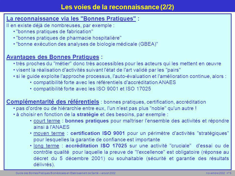 Guide des Bonnes Pratiques Biomédicales en Etablissement de Santé - version 2002 novembre 2002 n° 7 Garantir le métier Garantir la satisfaction Garantir le résultat Garantir une activité Positionnement des référentiels de reconnaissance ISO 9001 ISO 17025 ANAES Bonnes Pratiques