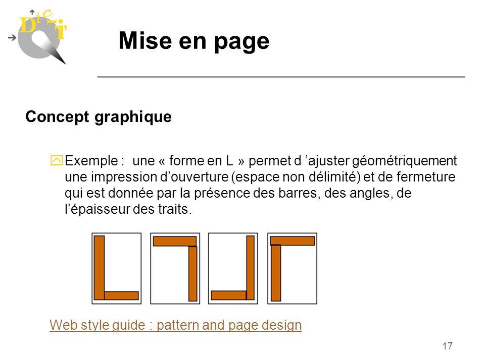 17 Concept graphique yExemple : une « forme en L » permet d ajuster géométriquement une impression douverture (espace non délimité) et de fermeture qu