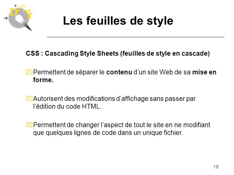 19 Les feuilles de style CSS : Cascading Style Sheets (feuilles de style en cascade) yPermettent de séparer le contenu dun site Web de sa mise en form