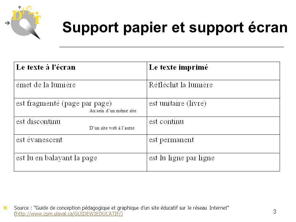 4 Support papier et support écran La page-écran illustre une réalité parcellaire et segmentée ; ce n est pas une page dans un livre.
