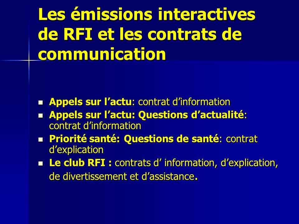 Les émissions interactives de RFI et les contrats de communication Appels sur lactu: contrat dinformation Appels sur lactu: contrat dinformation Appel