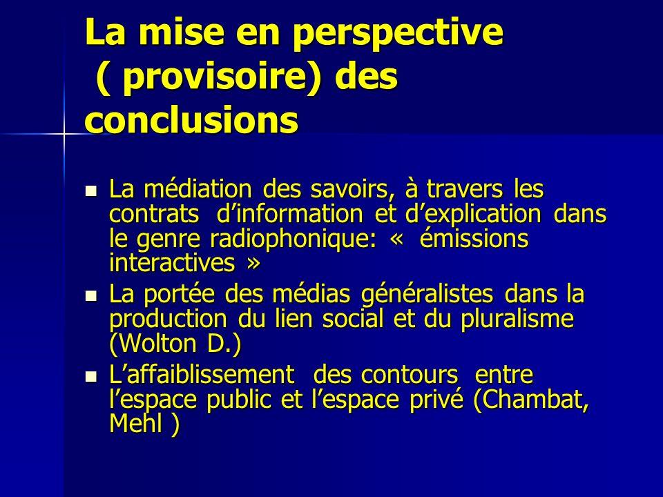 La mise en perspective ( provisoire) des conclusions La médiation des savoirs, à travers les contrats dinformation et dexplication dans le genre radio