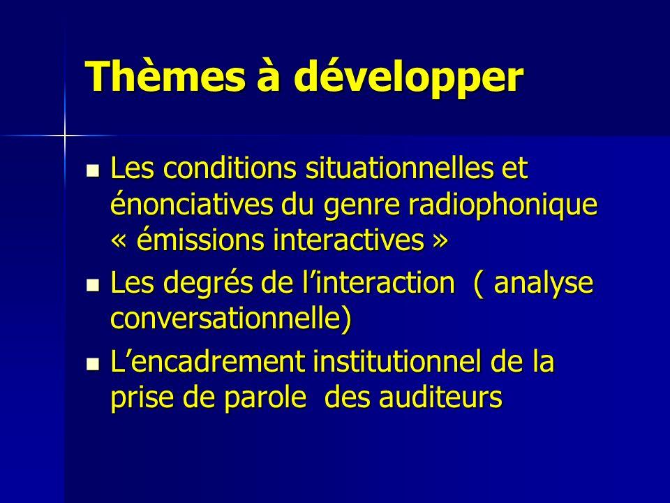 Thèmes à développer Les conditions situationnelles et énonciatives du genre radiophonique « émissions interactives » Les conditions situationnelles et