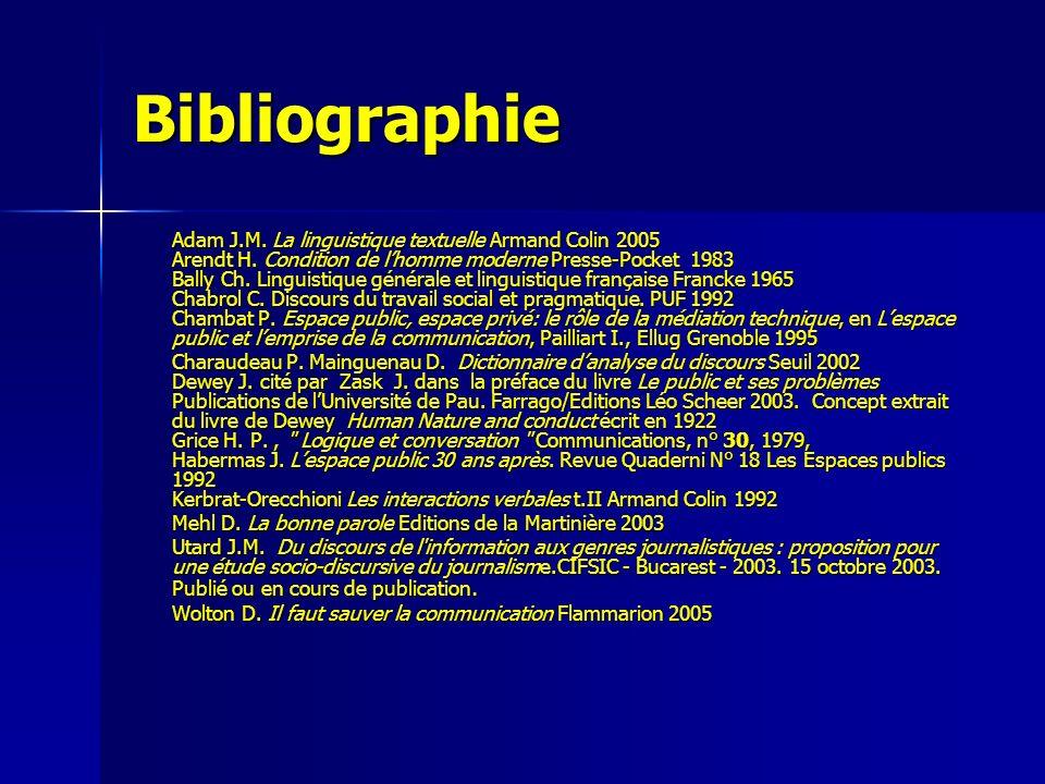 Bibliographie Adam J.M. La linguistique textuelle Armand Colin 2005 Arendt H. Condition de lhomme moderne Presse-Pocket 1983 Bally Ch. Linguistique gé