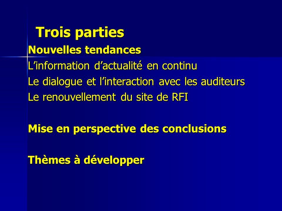Trois parties Nouvelles tendances Linformation dactualité en continu Le dialogue et linteraction avec les auditeurs Le renouvellement du site de RFI M