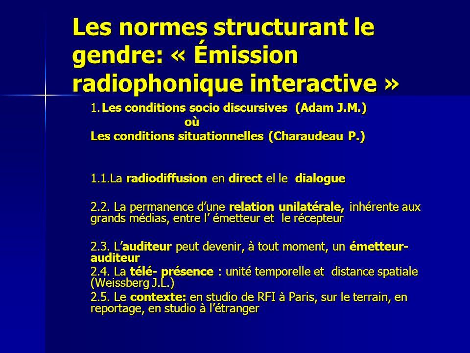 Les normes structurant le gendre: « Émission radiophonique interactive » 1. Les conditions socio discursives (Adam J.M.) où Les conditions situationne