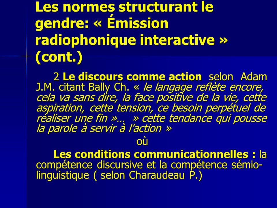 Les normes structurant le gendre: « Émission radiophonique interactive » (cont.) 2 Le discours comme action selon Adam J.M. citant Bally Ch. « le lang