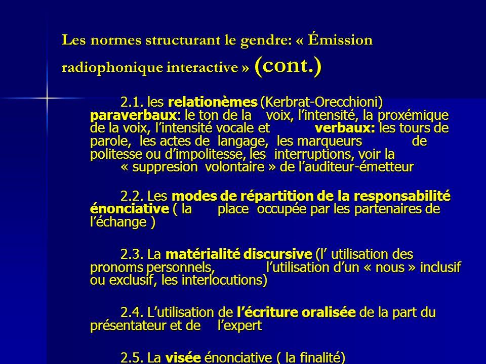 Les normes structurant le gendre: « Émission radiophonique interactive » (cont.) 2.1. les relationèmes (Kerbrat-Orecchioni) paraverbaux: le ton de la