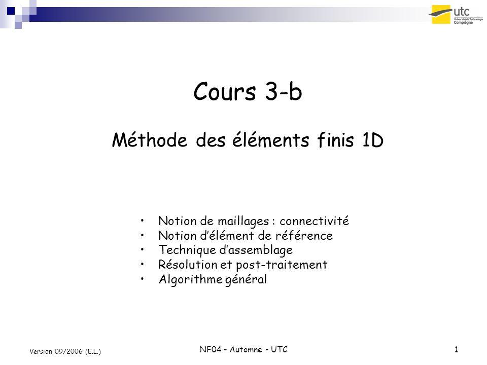 NF04 - Automne - UTC1 Version 09/2006 (E.L.) Cours 3-b Méthode des éléments finis 1D Notion de maillages : connectivité Notion délément de référence T