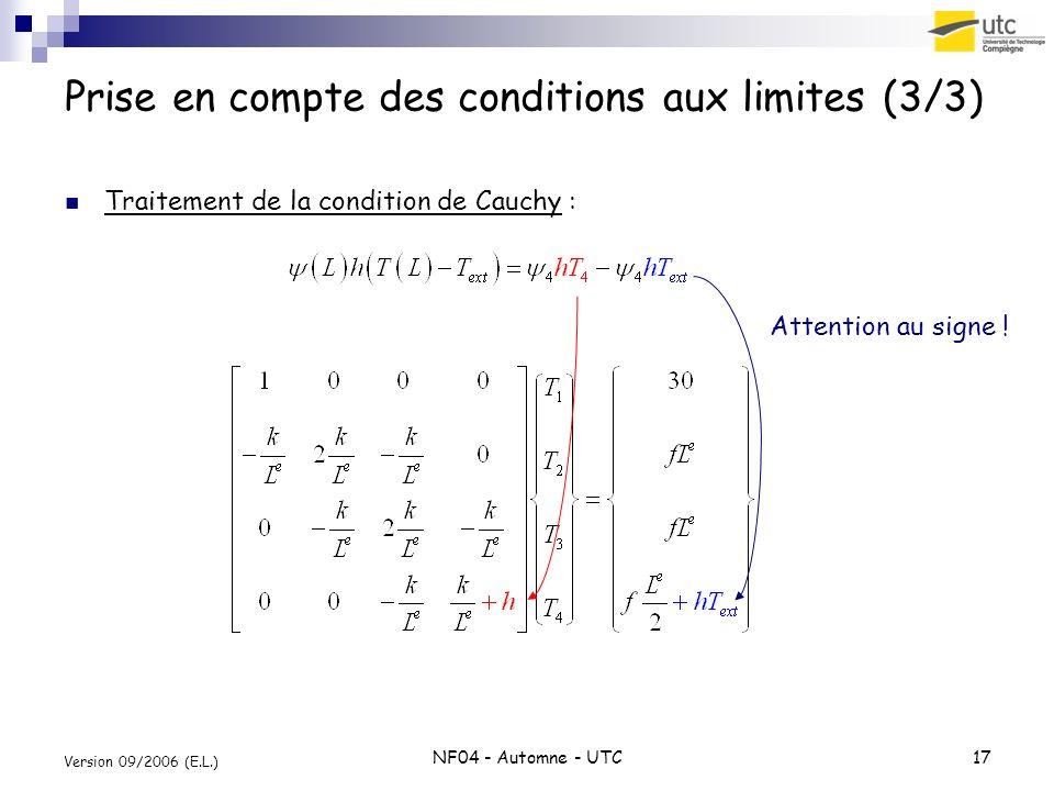 NF04 - Automne - UTC17 Version 09/2006 (E.L.) Prise en compte des conditions aux limites (3/3) Traitement de la condition de Cauchy : Attention au sig