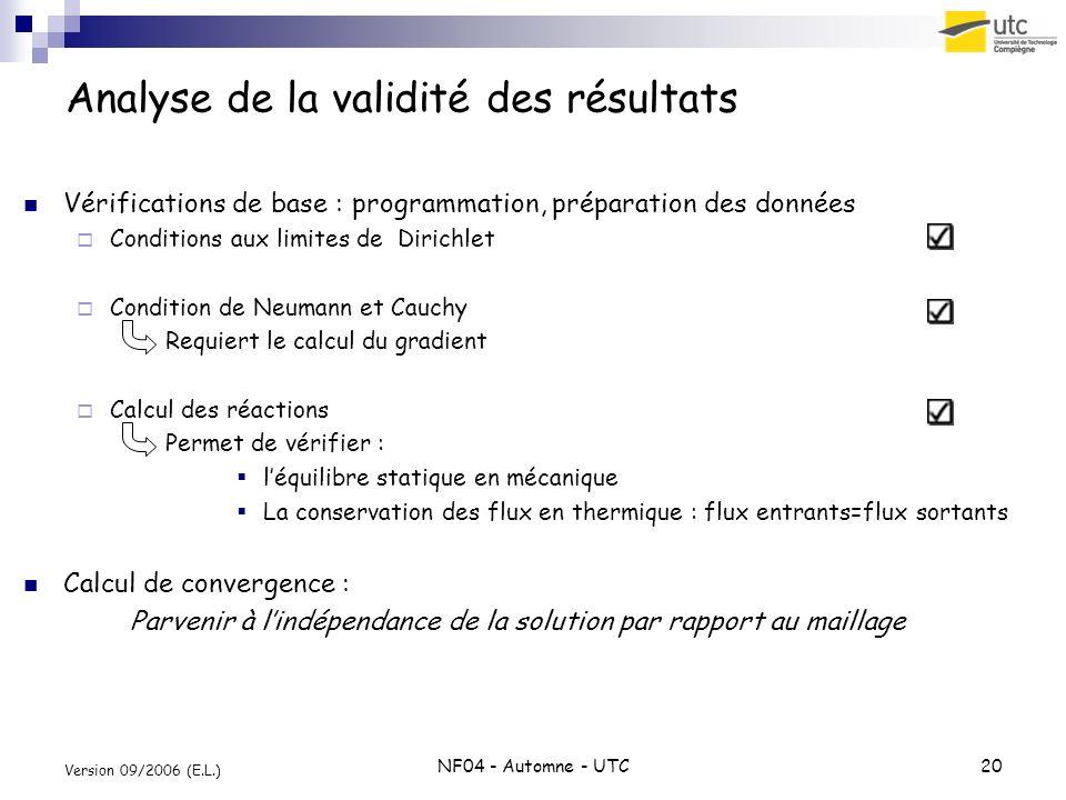 NF04 - Automne - UTC20 Version 09/2006 (E.L.) Analyse de la validité des résultats Vérifications de base : programmation, préparation des données Cond