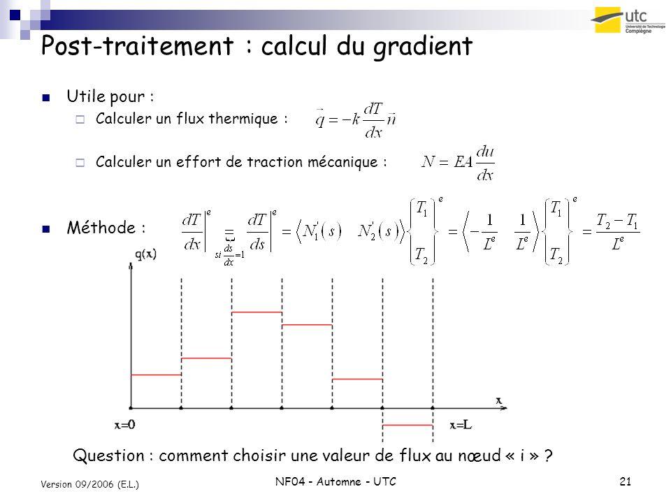 NF04 - Automne - UTC21 Version 09/2006 (E.L.) Post-traitement : calcul du gradient Utile pour : Calculer un flux thermique : Calculer un effort de tra