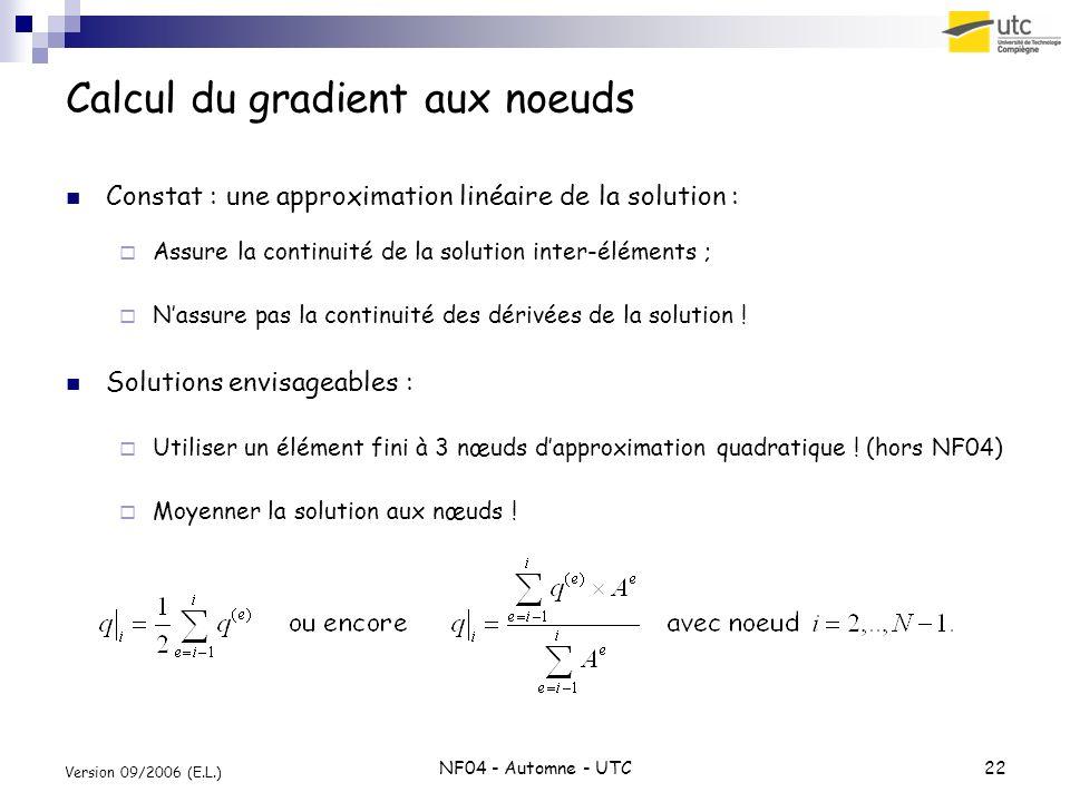 NF04 - Automne - UTC22 Version 09/2006 (E.L.) Calcul du gradient aux noeuds Constat : une approximation linéaire de la solution : Assure la continuité