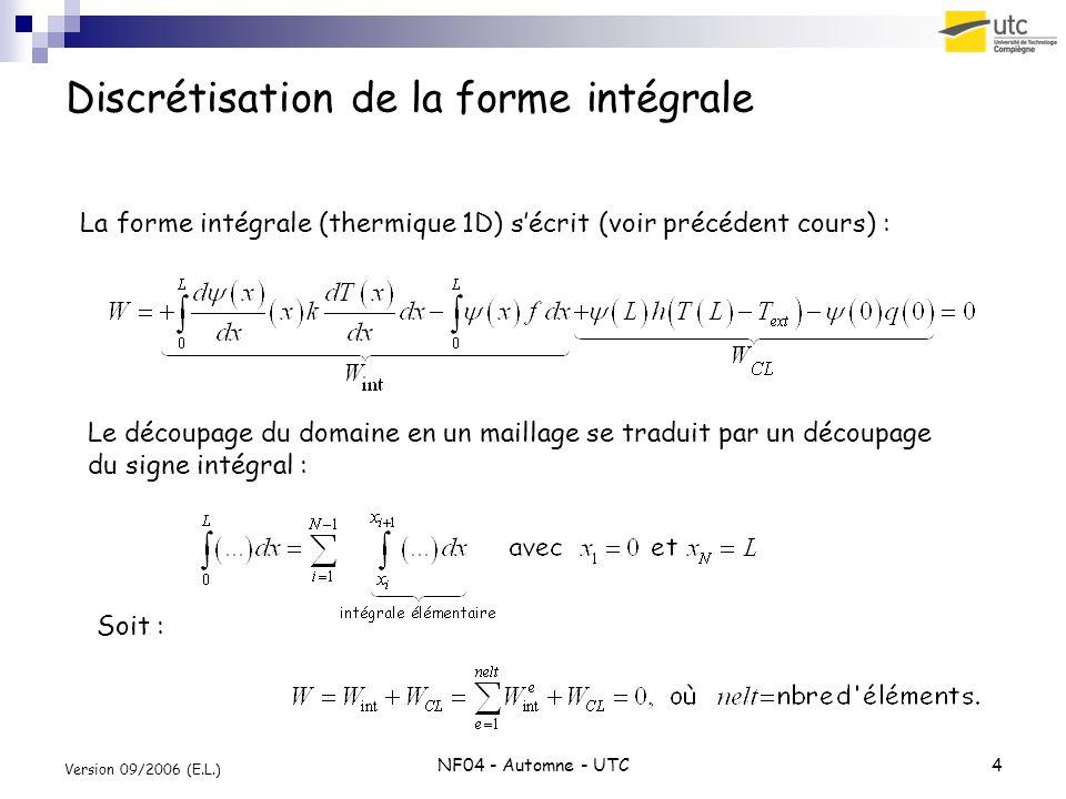NF04 - Automne - UTC4 Version 09/2006 (E.L.) Discrétisation de la forme intégrale La forme intégrale (thermique 1D) sécrit (voir précédent cours) : Le