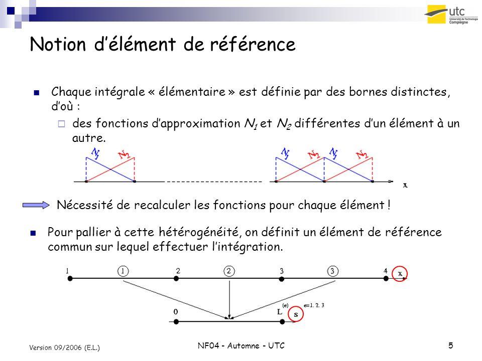 NF04 - Automne - UTC5 Version 09/2006 (E.L.) Notion délément de référence Pour pallier à cette hétérogénéité, on définit un élément de référence commu